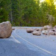 Rocks in road