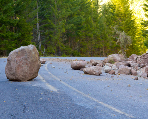 Rocks in road